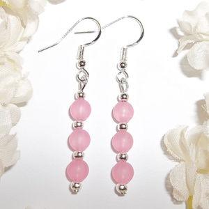Long Pink & Silver Earrings Beaded Dangle NWT 4113